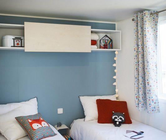 children bedroom in the new mobilehome, campsite Les Grands Sables Le Pouldu